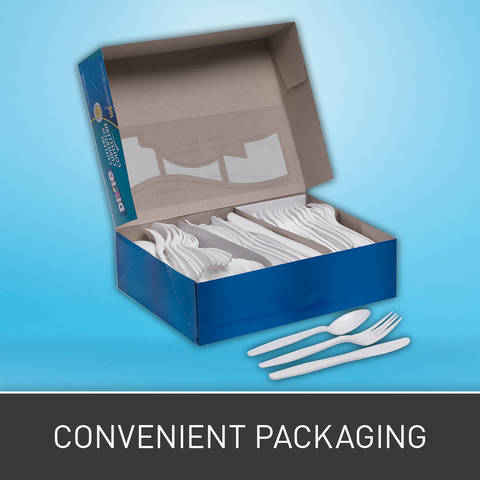 56 each of fork, knife and spoon in a resealable box for sanitation and storage.