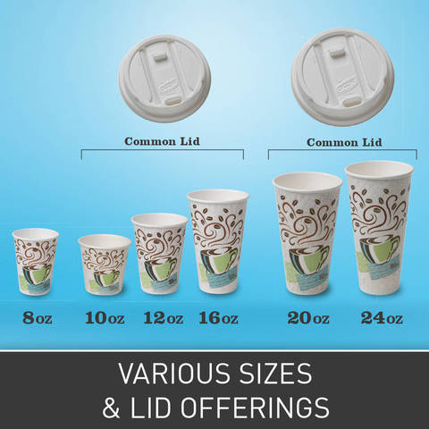 Available in 8-, 10-, 12-, 16-, 20-, and 24-ounce sizes with three easy-to-use lid options.