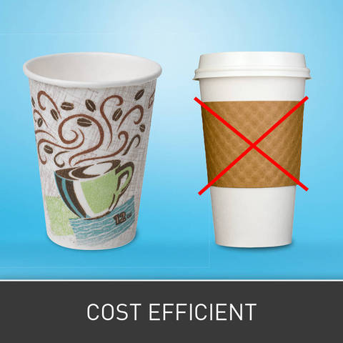 Unique insulating features helps reduce the need for costly beverage sleeves and double cupping.