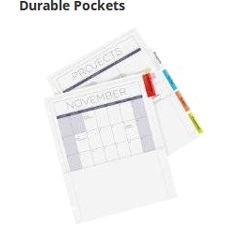 Keep loose papers easily accessible with sturdy pockets that offer extra storage.