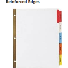 Reinforced holes provide extra tear resistance so dividers stand up to everyday use.