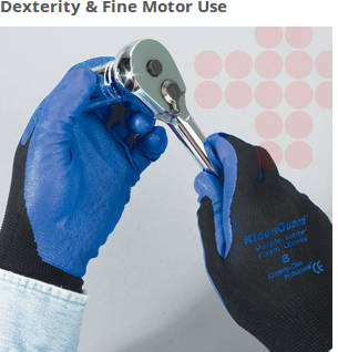 These protective gloves offer your team excellent grip and dexterity. In fact, they perform with 25% better productivity than leather.