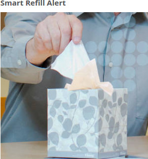 You'll know when you need to replace the Kleenex facial tissue cube. The last 10 tissues are cream (instead of white), so you'll know it's almost time to provide a new box.