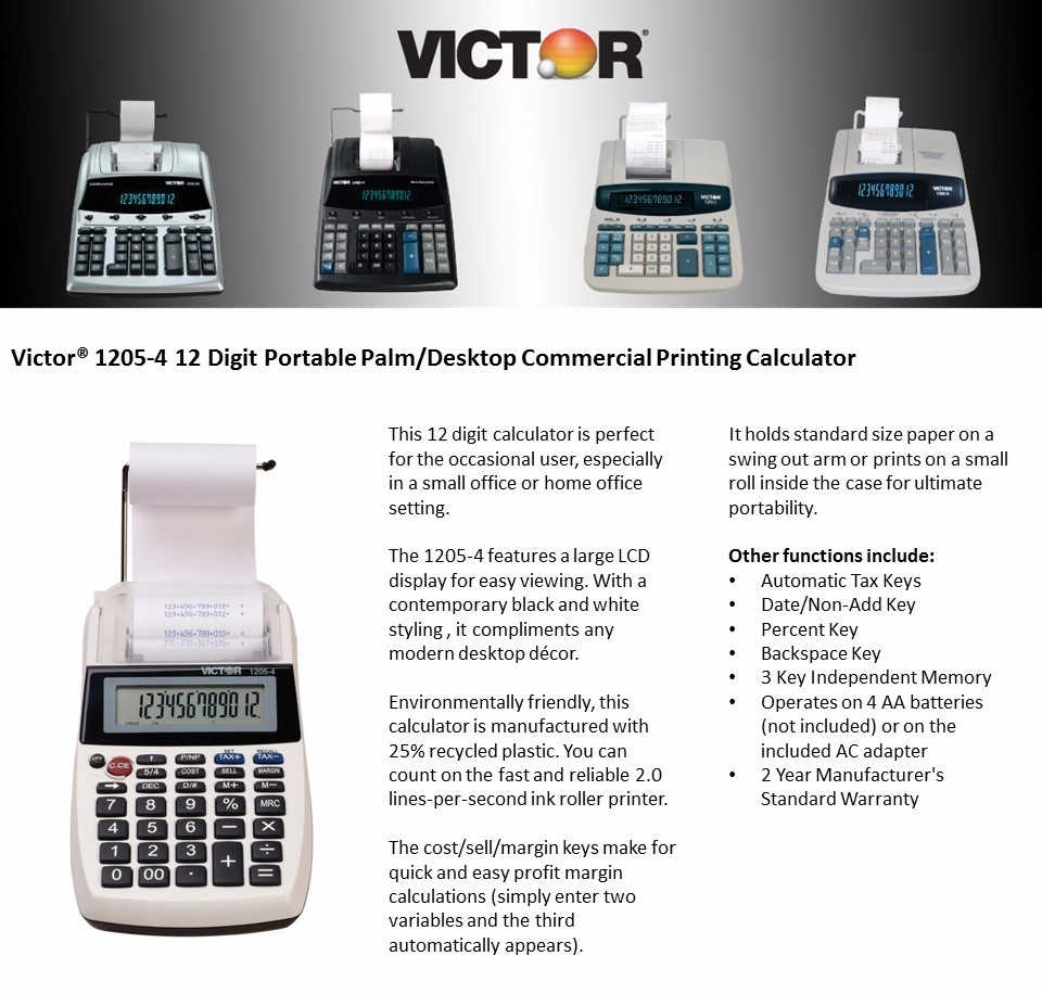 Victor 1205-4 12 Digit Portable Palm/Desktop Commercial