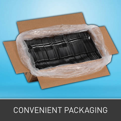Packaging conserves valuable storage space.
