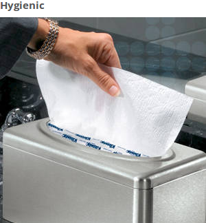 When your washroom visitors pull soft guest hand paper towels from the pop-up box dispenser (with a water-resistant coating), they'll only touch the towel they use. It's a clean way to give them a premium, efficient hand drying experience.