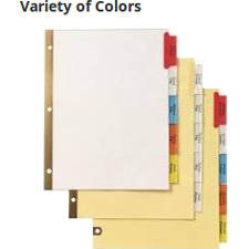 Available in buff, manila or white paper with clear or multicolored tabs.