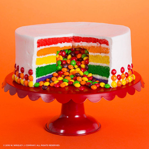 <b>Serve a Sweet Surprise</b></br>Never bring another boring dessert! Surprise guests with Skittles fruit-flavored sweetness when they cut into your next cake.