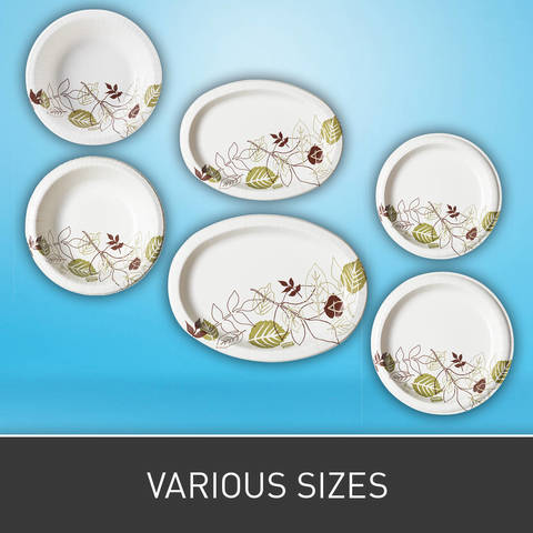 Available in various sizes. Platters 9 x 6.5 inches, 11 x 8.5 inches, Bowls 12 & 20 oz, Plates 8.5 & 10.12 inches.