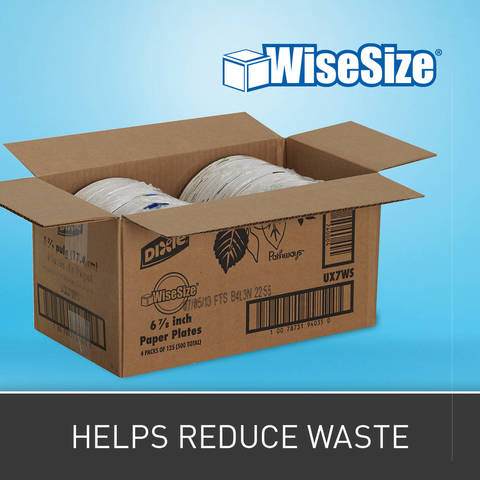 Contains less packaging materials per case than foam. Select Dixie plates & bowls are also available in Wise Size packaging, limiting stocking space needed per case.