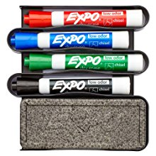<b> Expo Accessories </b></br> Expo carries whiteboard erasers and marker caddies in a variety of styles and sizes to suit your needs. Stock up on AP certified liquid cleaner, microfiber cleaning cloths and towelettes so you can make a mess and then wipe the slate clean again and again.