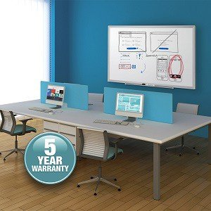 Standard magnetic dry erase board has a smooth, durable surface that stands up to moderate use