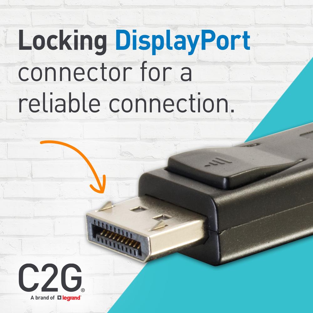 C2G 6ft DisplayPort Cable - Digital Audio Video - Black - DisplayPort for  Notebook, Monitor, Audio/Video Device - 6 ft - 1 x DisplayPort Male Digital