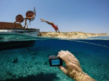 <b>Rugged + Waterproof</b></br>Durable by design, HERO5 Black is waterproof to 33 feet (10m) without a housing.