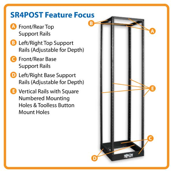 Tripp Lite's SR4POST Open Frame Rack Product Summary: