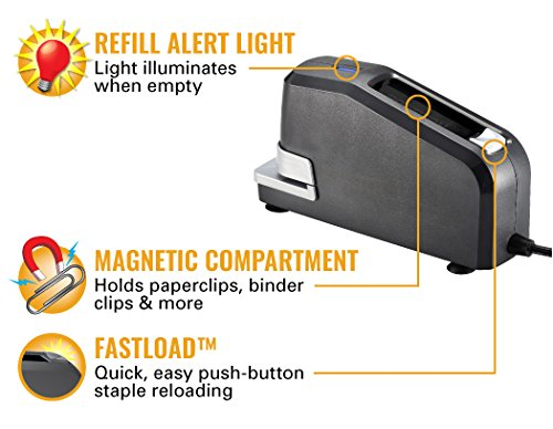<p><b>Refill Alert Light, FastLoad™ & Magnetic Compartment</b></p><p>When the staple supply is low, the refill alert light glows as a visual indicator. To load, simply press the button on the top to pop the magazine open so you can quickly drop staples in. Also on the top of the stapler is the magnetic compartment for keeping paperclips and more, readily available.</p>