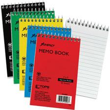 """Memo Notebook, Top Spiral, Narrow Rld, 50 Shts, 3""""x5"""", Ast"""