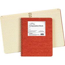 """Computation Book,4x4 Quad,76 Shts,9-1/4""""x11-3/4"""",Red Cover"""