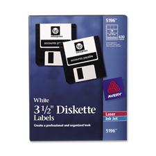 "Permanent Laser/Inkjet Labels, 3-1/2"" Disk, 630/Box, White"