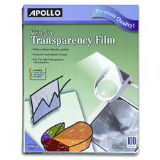 """Write On Transparency Film, 8-1/2""""x11"""", 100/BX, Clear"""