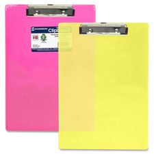 """Plastic Clipboard, Letter, Holds 1/2"""" of Paper, Neon Yellow"""
