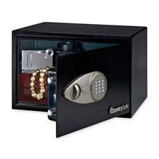 """Electronic Safe w/ LockANDKey, 13-3/4""""x10-3/5""""x8-7/10"""",BLK"""