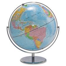 """World Globe, Blue Oceans, 12""""x16""""x13"""", Silver Base"""
