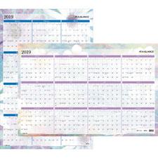 """2-Sided Wall Calendar, Erasable, Jan-Dec ,36""""x24"""" ,BY/Navy"""