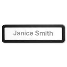 """Plastic Cubicle Nameplate, Plastic, Black"""