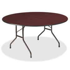 """Round Folding Table, Wood, 60"""", Gray Laminate"""
