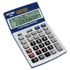 """Two-Line Digital Calculator, Blue/White"""