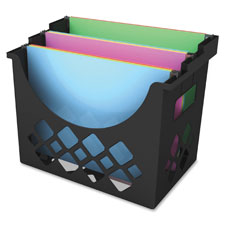"""Hanging File Holder, 3 Compartments, 9.6""""x8.5""""x13.25"""", Black"""