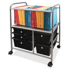 """Mobile File Cart, Organizer, w/ Storage Drawers, Silver"""