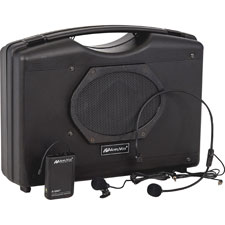"""Wireless Portable Speaker W/ Headset Mic, 10 Batt Reqd, BK"""