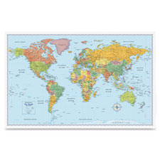 """World Wall Map, Laminated, 50""""Wx32""""H, Multi-Color"""