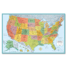 """U.S. Wall Map, Laminated, 50""""Wx32""""H, Multi-Color"""