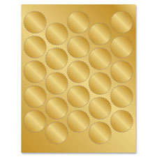 """Foil Seals, Adhesive, 1-3/4"""" 200/PK, Gold"""