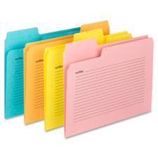 """Notes File Folders, 11pt, 1/3cut, 9-1/2""""x11/5/8"""", 12/PK, Ast"""