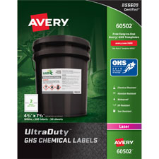"""""""GHS Chemical Labels, 2""""""""x4"""""""", 50SH/BX, White"""""""