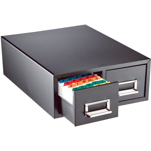 Card Cabinet File, 2-Drawer, 3000 Card Cap, 5x8, Black - 1 EA
